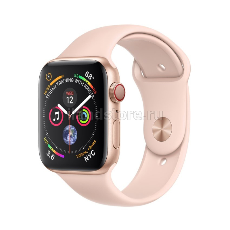 Apple Watch S4 Sport 44mm GPS Gold Al/Pink Sand Sport Band (MU6F2)