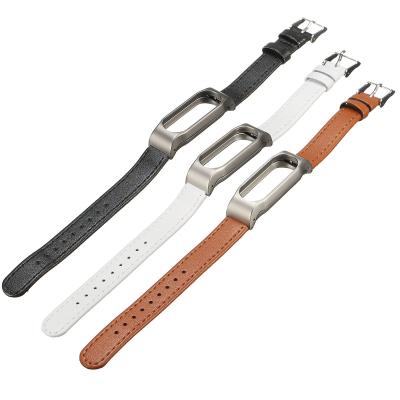 Ремешок кожаный для Xiaomi Mi Band 2 Белый