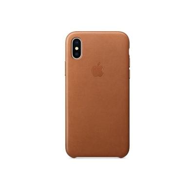 Кожаный чехол для iPhone X Apple Leather Case, цвет коричневый/saddle brown (MQTA2ZM/A)