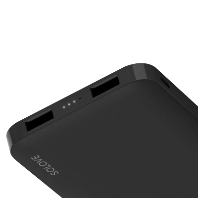 Внешний аккумулятор Xiaomi Power Bank SOLOVE 10000mAh Dual USB with leather case, Black (001M)