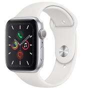 Apple Watch S5 Sport 44mm GPS Silver Al/White Sport Band